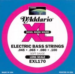 JEU de Cordes D'ADDARIO pour Guitare Basse EXL170 RW 45/100 Regular Light - laflutedepan.com