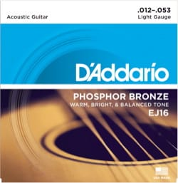 Cordes pour Guitare Acoustique - ADDARIO EJ16 String Set for Acoustic Guitar - Light 12-16-24-32-42-53 - Accessory - di-arezzo.co.uk
