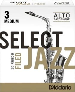 Anches D'Addario Woodwinds Select Jazz Filed Saxophone Alto Force 3 Médium (Boît - laflutedepan.com