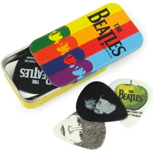 Boîte de 15 Médiators signature Beatles rayures medium laflutedepan