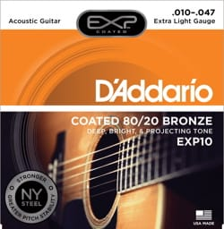 Cordes pour Guitare Acoustique - SET of 6 ADDARIO EXP10NY Strings - Super Light 10-47 - FOLK GUITAR - Accessory - di-arezzo.co.uk