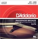 Jeu de cordes Mandoline D'Addario EJ74 bronze phosphoreux, Medium, 11-40 - laflutedepan.com