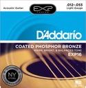 Jeu de Cordes Guitare accoustique D'ADDARIO - EXP16NY Light, 12-53 laflutedepan.com