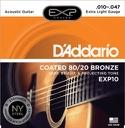 JEU de 6 Cordes EXP10NY D'ADDARIO - Super Light 10-47 - GUITARE FOLK laflutedepan.com