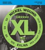 Cordes pour Guitare - Jeu de cordes D'Addario en nickel pour Guitare basse EXL165, Custom Light, 45-10 - Accessoire - di-arezzo.fr