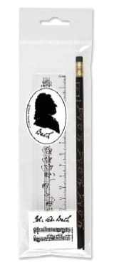 Cadeaux - Musique - Musical Stationery Set - BACH: Pencil, Eraser and Rule - Accessory - di-arezzo.co.uk