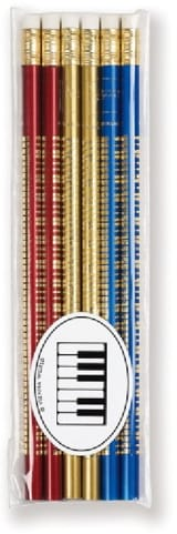 Set de 6 crayons colorés - CLAVIER DE PIANO laflutedepan.com