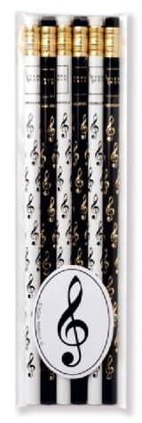 Set de 6 crayons - CLÉ DE SOL Cadeaux - Musique laflutedepan.com