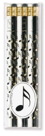 Set de 6 crayons - DOUBLE-CROCHE Cadeaux - Musique laflutedepan.com