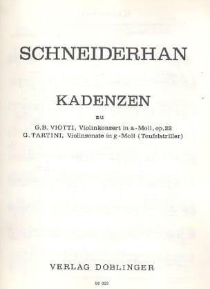 Kadenzen Viotti - Tartini Wolfgang Schneiderhan Partition laflutedepan