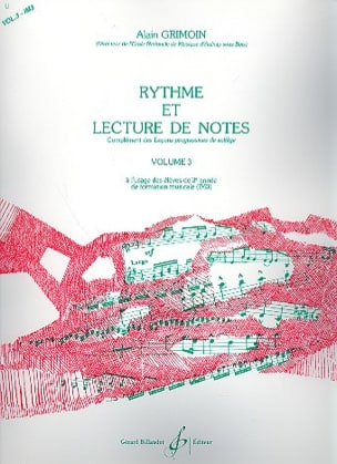 Alain Grimoin - Rhythm and Reading Notes Volume 3 - Partitura - di-arezzo.it