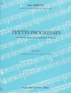 Alain Grimoin - Textes progressifs - Volume 1 - Partition - di-arezzo.fr
