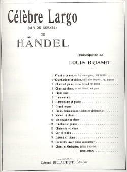 HAENDEL - Célèbre Largo - Hautbois - Partition - di-arezzo.fr