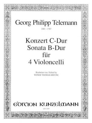 TELEMANN - Konzert C-Dur / B-Dur Sonata - 4 Violoncelli - Sheet Music - di-arezzo.co.uk