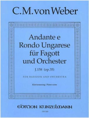 Carl Maria von Weber - Andante e Rondo ungarese op. 35 –Fagott Klavier - Partition - di-arezzo.fr