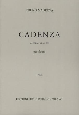 Bruno Maderna - Cadenza da Dimensioni 3 - Partition - di-arezzo.fr