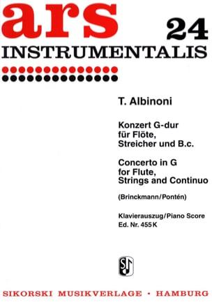 Tomaso Albinoni - Concerto G-Dur – Flöte Klavier - Partition - di-arezzo.fr
