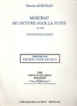 Charles Koechlin - Morceau de lecture pour Flûte op. 218 - Partition - di-arezzo.fr