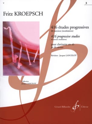 416 Etudes Progressives Volume 3 Fritz Kroepsch Partition laflutedepan