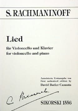Lied - Cello RACHMANINOV Partition Violoncelle - laflutedepan