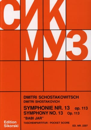 Dmitri Chostakovitch - Symphonie Nr. 13, op. 113 – Partitur - Partition - di-arezzo.fr