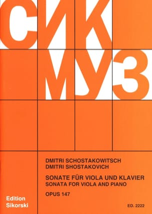 CHOSTAKOVITCH - Sonata for Viola und Klavier, op. 147 - Sheet Music - di-arezzo.co.uk