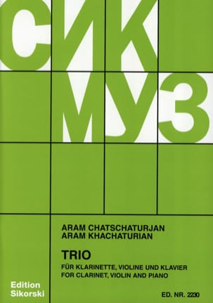 Aram Khatchaturian - Trio for Clarinet Violin and Piano - Partition - di-arezzo.co.uk