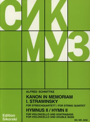 Alfred Schnittke - Kanon In Memoriam Strawinsky / Hymnus 2 -Partitur + Stimmen - Partition - di-arezzo.fr