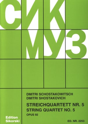CHOSTAKOVITCH - Streichquartett Nr. 5 op. 92 - Stimmen - Sheet Music - di-arezzo.co.uk