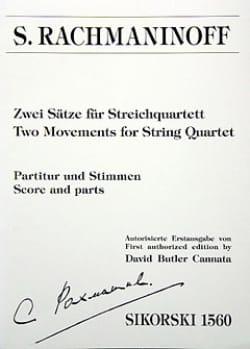 Serge Rachmaninov - Zwei Sätze für Streichquartett - Partition - di-arezzo.fr