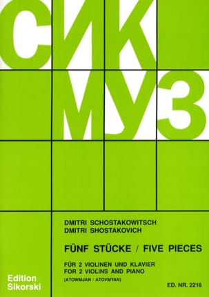 Dmitri Chostakovitch - 5 Pieces - 2 Violins and Piano - Sheet Music - di-arezzo.com