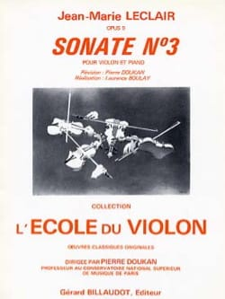 Sonate op. 9 n° 3 ré majeur LECLAIR Partition Violon - laflutedepan