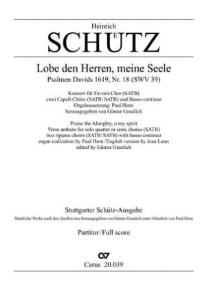 Heinrich Schütz - Lobe den Herren, meine Seele - Sheet Music - di-arezzo.com
