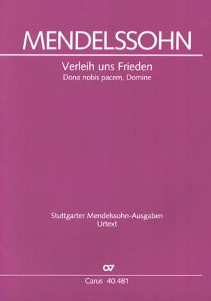 Bartholdy Felix Mendelssohn - Verleih uns Frieden gnädiglich - Partition - di-arezzo.fr