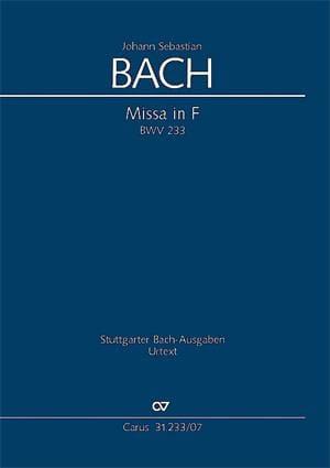 Johann Sebastian Bach - Messe en Fa BWV 233 - Partition - di-arezzo.fr
