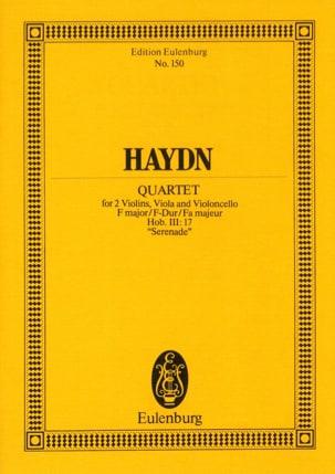 Joseph Haydn - Streich-Quartett F-Dur op. 3 n° 5 Sérénade - Partition - di-arezzo.fr