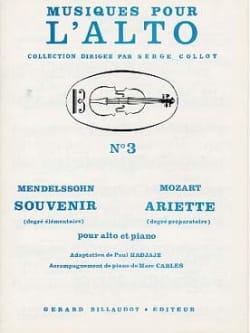 Mendelssohn Bartholdy Felix / Mozart Wolfgang Amadeus - Souvenir / Ariette - Partition - di-arezzo.fr
