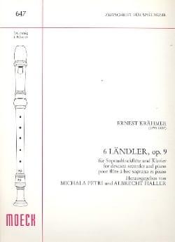 6 Ländler op. 9 Ernest Krähmer Partition Flûte à bec - laflutedepan