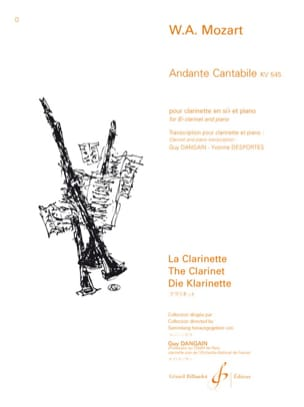 MOZART - Andante Cantabile KV 545 - Clarinet - Sheet Music - di-arezzo.co.uk