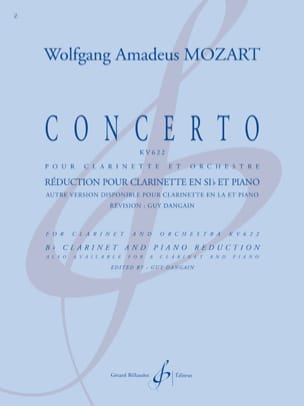 MOZART - Concerto KV 622 - Clarinette sib - Partition - di-arezzo.fr