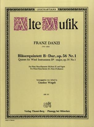 Franz Danzi - Bläserquintett B-Dur op. 56 Nr. 1 –Stimmen - Partition - di-arezzo.fr