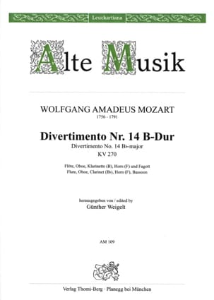 Divertimento Nr. 14 B-Dur KV 270 - Bläserquintett - Stimmen laflutedepan
