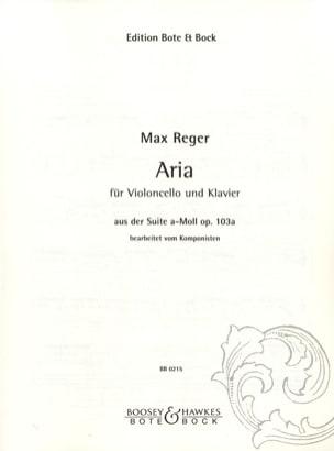 Max Reger - Aria aus der Suite a-moll op. 103a - Partition - di-arezzo.fr