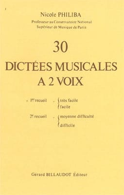Nicole Philiba - 30 Musical Dictations with 2 Voices - Volume 1 - Sheet Music - di-arezzo.co.uk