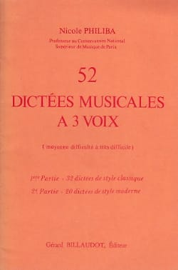 Nicole Philiba - 52 Musical dictations with 3 voices - Sheet Music - di-arezzo.co.uk