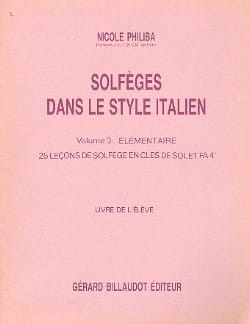 Solfèges style italien - Volume 3 - Elève - laflutedepan.com