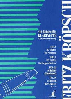 Fritz Kroepsch - 416 Etüden für Klarinette - Teil 3 - Sheet Music - di-arezzo.co.uk