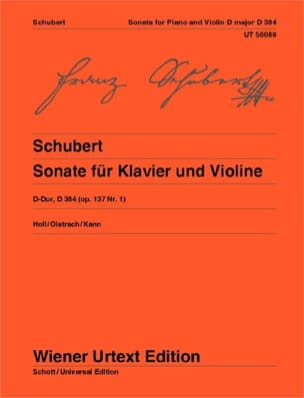 SCHUBERT - Sonata in D Major Opus 137 N ° 1 - D.384 - Sheet Music - di-arezzo.co.uk
