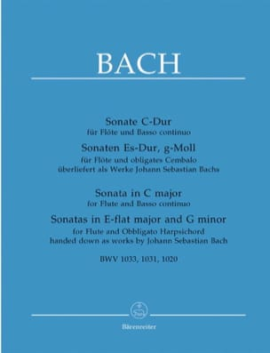BACH - 3 Sonatas for flute and basso piano - Sheet Music - di-arezzo.co.uk