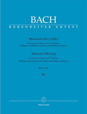 BACH - Musikalisches Opfer (Bd. 3 : Kanons) – Flöte, 2 Violinen, obl. Cembalo u. Bc - Partition - di-arezzo.fr